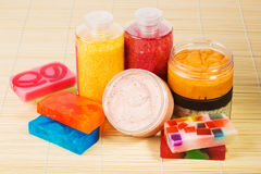 Set for spa. Handmade soap. salt and foam bath Stock Photography
