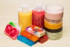 Set for spa. Handmade soap. salt and foam bath Stock Photos