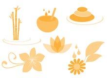 Set of spa icons. Set of orange spa icons Royalty Free Stock Photography