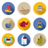 Set of spa icons with shadows Royalty Free Stock Photography