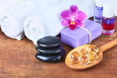 Set of spa items Royalty Free Stock Photos