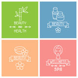 Set of spa labels in linear style Stock Photos