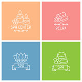 Set of spa labels in linear style Royalty Free Stock Image