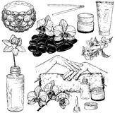 Set of spa and manicure illustrations Royalty Free Stock Photos