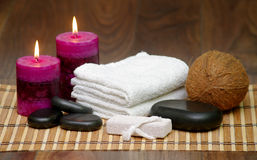 Set for spa with natural ingredients. body Massage Royalty Free Stock Photo