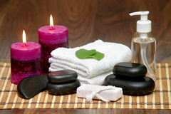 Set for spa with natural ingredients. body Massage Stock Photos