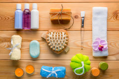 Set of spa objects decomposed on wooden boards. View from above Stock Image