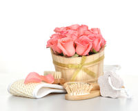 Set for spa with pink rose Stock Images
