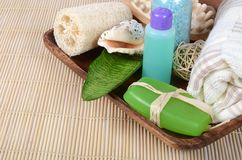 Set for spa-procedures on bamboo rug Royalty Free Stock Photo