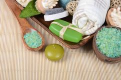 Set for spa-procedures on bamboo rug Stock Images