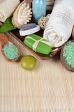 Set for spa-procedures on bamboo rug Stock Photos