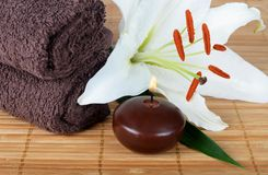 Set for spa-procedures on bamboo rug Royalty Free Stock Photos