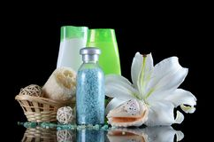 Set for spa-procedures On black background Stock Photography