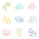 Set of spa and recreation icons in linear style Stock Image