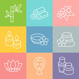 Set of spa and recreation icons in linear style Royalty Free Stock Photo