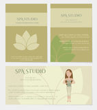Set of spa studio business cards. In natural colors with lotus icon. Vector eps10 Royalty Free Stock Images