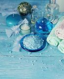 Set for spa with towels, salt and aromatic oils, selective focus Stock Photo