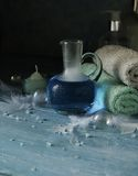 Set for spa with towels, salt and aromatic oils, selective focus Royalty Free Stock Images