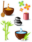 Set of spa treatment symbols. Honey, bamboo, stones tower, aroma candle, water and plants Royalty Free Stock Image