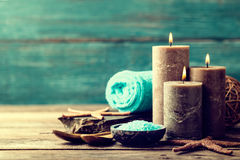 Set for spa treatments with cosmetic products for body care and relaxation Royalty Free Stock Image