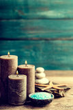 Set for spa treatments with cosmetic products for body care and relaxation Stock Photo
