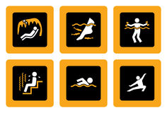 Set of Spa&Wellness pictograms on Black II. Set of icons with Spa&Wellness theme in white and orange on black background Stock Image