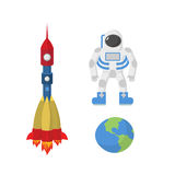 Set space: astronaut, planet Earth, rocket. Vector illustration Stock Photo