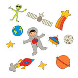 Set of space characters and objects Stock Photography