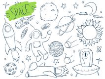 Set of space. Doodles hand drawn sketchy objects. stock illustration