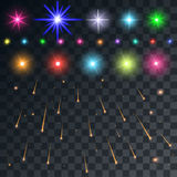 Set  space flash and stars and meteors on a transparent ba Royalty Free Stock Image