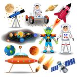 Set of space icons and clip arts isolated on a white background. Set of space icons and clip arts like astronaut, spaceship, rocket, planet, solar system Stock Photos