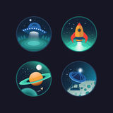 Set of space icons Royalty Free Stock Photography
