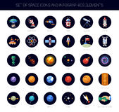 Set of space icons and infographics elements Royalty Free Stock Photo