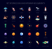 Set of space icons and infographics elements Stock Images
