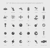 Set of space icons, pictograms and infographics Stock Photo