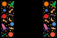 Set of space objects on black background stock illustration
