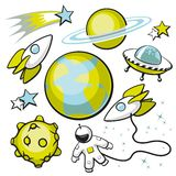 Set of Space Objects. Cartoon set of space objects on a white background Stock Photography