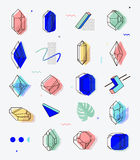 Set of space objects crystals with geometric shapes. Memphis style for hipsters. The elements for cover, fashion, t-shirts, gift cards, 80 Stock Image