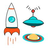 Set of space objects icons. Outer space, rocket, comet, planets, ufo. Childish background. Hand drawn vector Stock Image