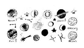 Set of space objects planets, stars, circles, triangles