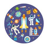 Set of space objects. Space theme, flight astronaut on ship. Royalty Free Stock Photo