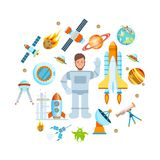 Set of space objects. Space theme, flight astronaut on ship. Stock Photo