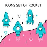 Set of space rocket icons. Vector illustration. White bg Stock Photography