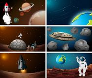 Set of space scene. Illustration vector illustration