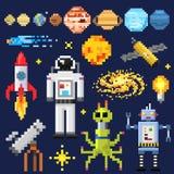 Set of space stars, alien spaceman, robot rocket   Stock Image