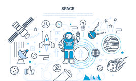 Set on space theme, including transport, planets, related objects, satellites. Set on a space theme, including a transport, cosmonaut, planets and related Stock Photos