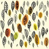 Set spadać liście Jesień wzór Kreślący liście Obrazy Stock