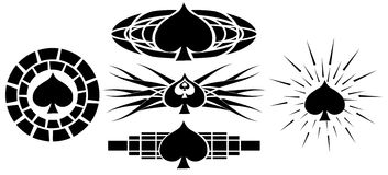 Set of spades tattoo set isolated Stock Images