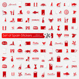 Set of Spain stickers Stock Photography
