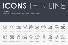 SPAMMING Thin Line Icons. Set of SPAMMING Thin Line Vector Icons and Pictograms Stock Images